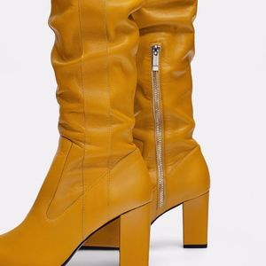 e27c48fc665c Zara Shoes - ZARA MUSTARD YELLOW HIGH HEELED 100% LEATHER BOOTS